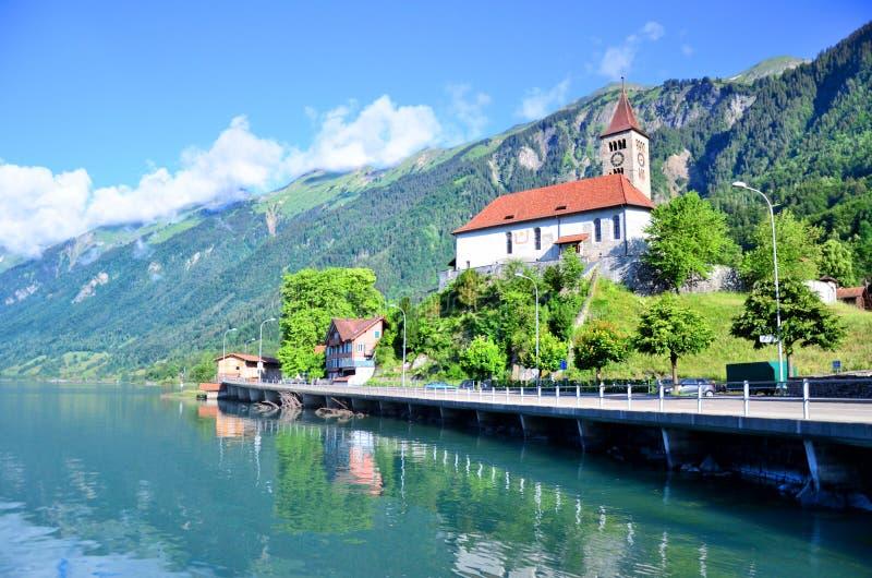 Parish church to the Brienz town on lake Brienz by Interlaken stock photo