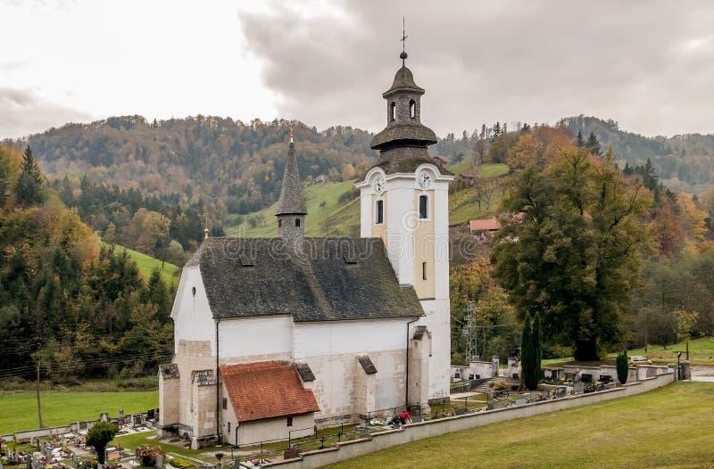 Parish Church of the Visitation of Mary, Åpitalič, nära Slovenske Konjice och Žice Carthusian Slovenien fotografering för bildbyråer