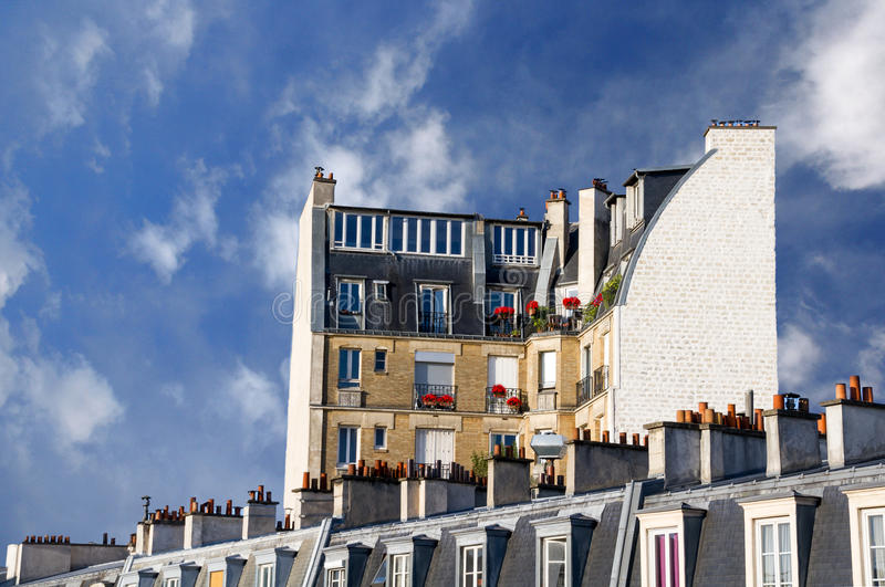 Parisian Apartment Building in the Latin Quarter stock photos