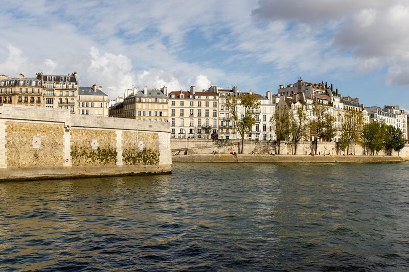 Parisian apartment buildings on the waterfront royalty free stock images