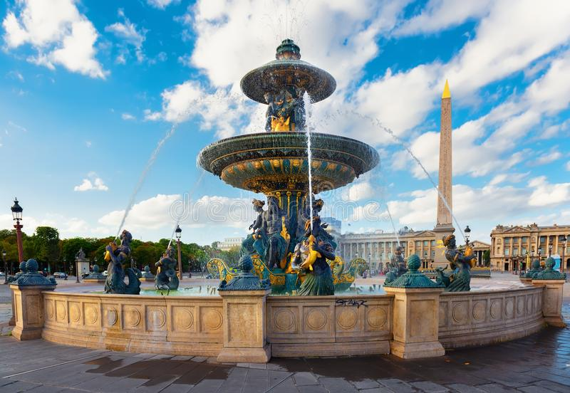 Parisian Fountain de Mers. And cloudy sky at summer stock image