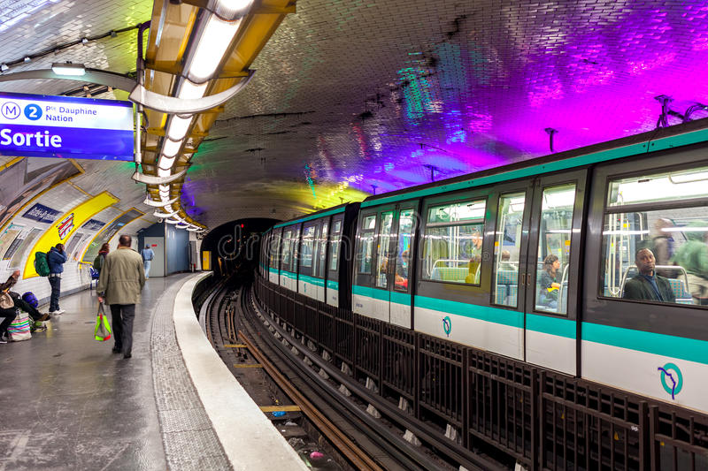 Parisian metro. PARIS, FRANCE - MAY 25, 2016: Train on platform on parisian metro station - rapid transit system opened in 1900, has 16 lines, 303 stations and royalty free stock images