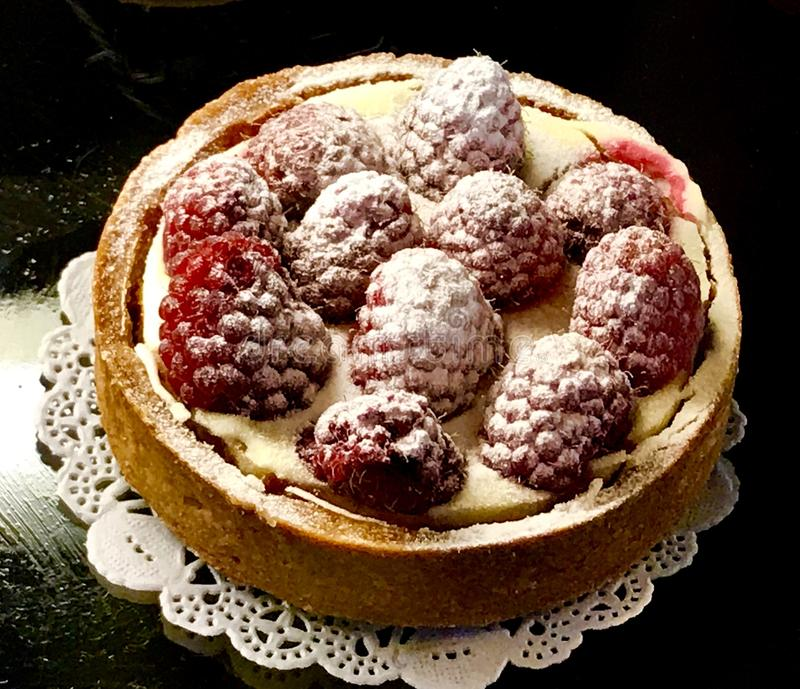 A Parisian Raspberry Tart stock photo