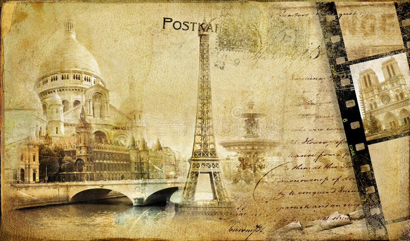 parisian tappning för almum royaltyfri illustrationer