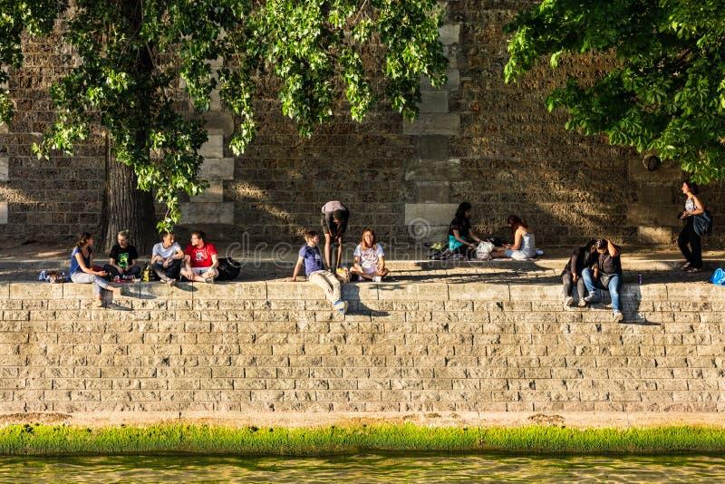 Parisians e os turistas têm o piquenique e relaxam no Seine River fotos de stock