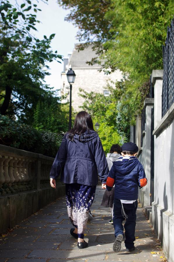 Parisians in the streets of Montmartre in Paris stock photos
