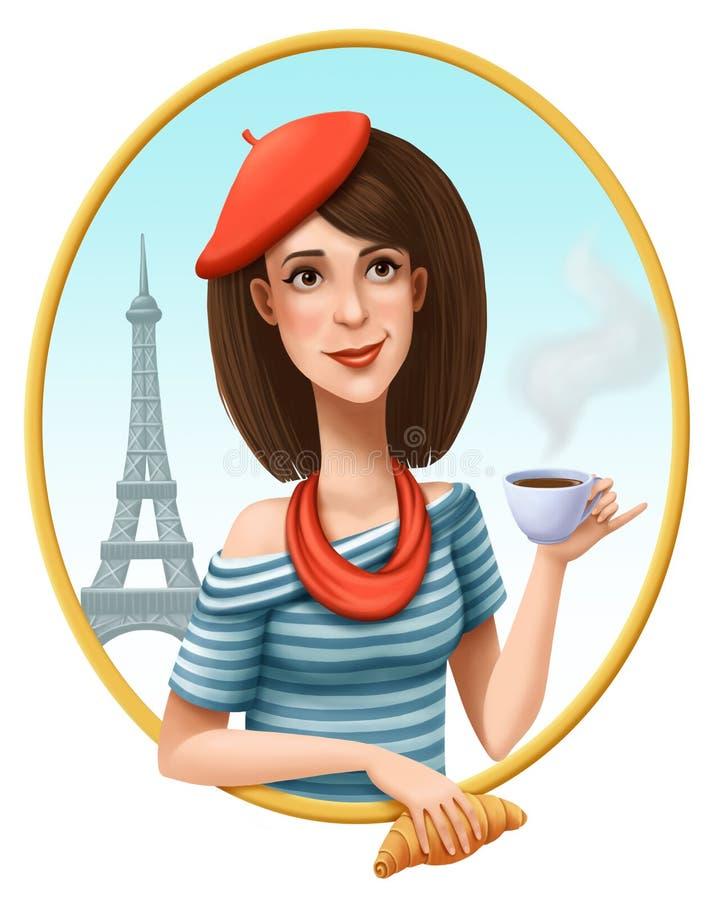 Parisienne με το φλιτζάνι του καφέ και croissant σε ένα υπόβαθρο του πύργου του Άιφελ ελεύθερη απεικόνιση δικαιώματος