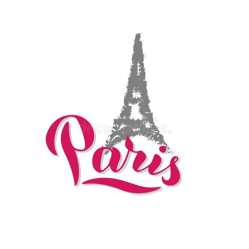 Paristext Eiffel-vykort. Moderiktig bokst?verdesign. Skriv ut för t-shirt, kort, souvenir, påse. vektor royaltyfri illustrationer