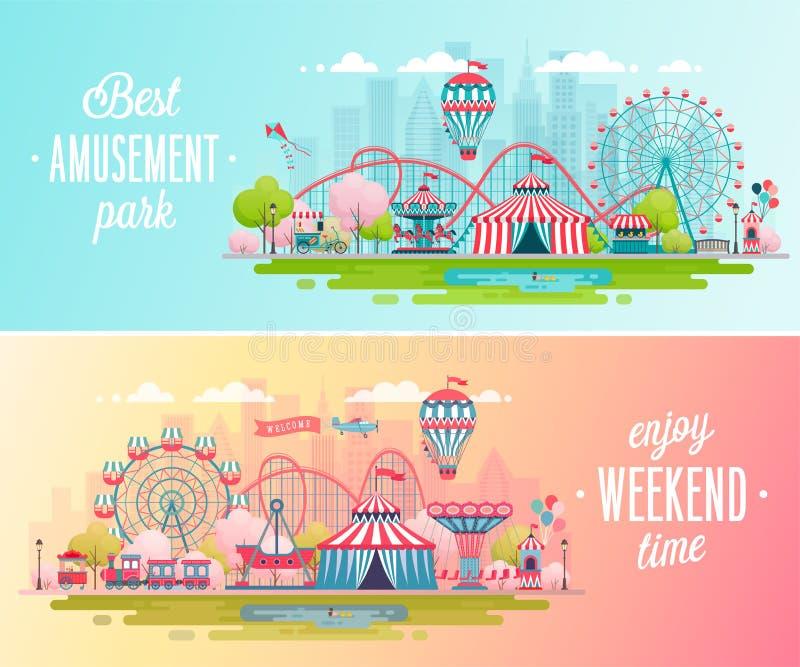 Parków rozrywki krajobrazowi sztandary z carousels, kolejką górską i lotniczym balonem, royalty ilustracja
