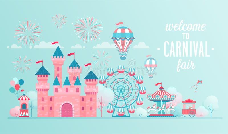 Parków rozrywki krajobrazowi sztandary z kasztelem, carousels i lotniczym balonem, ilustracja wektor