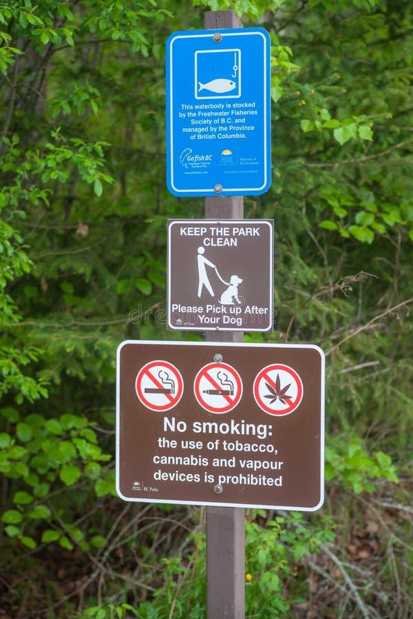 Parków znaki - reguły dla gości zdjęcia royalty free