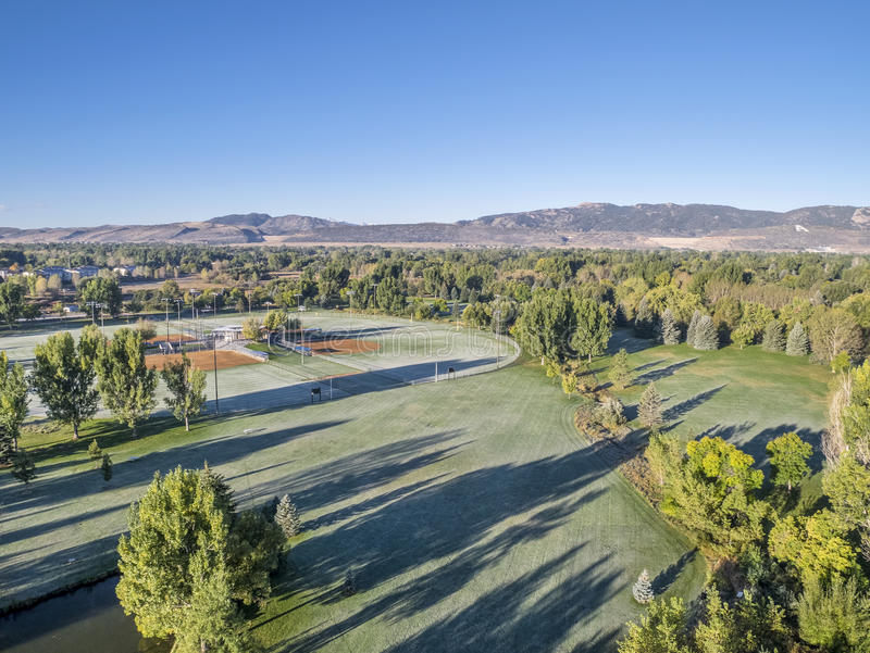 Park aerial view with frost stock photography
