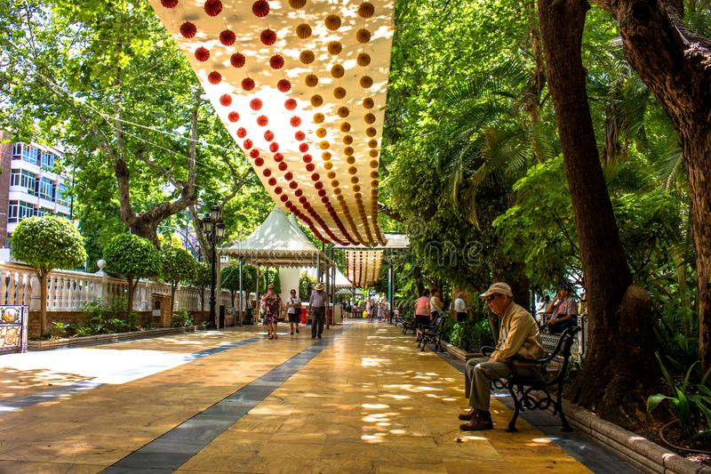 Park Alameda Park Marbella stock afbeeldingen