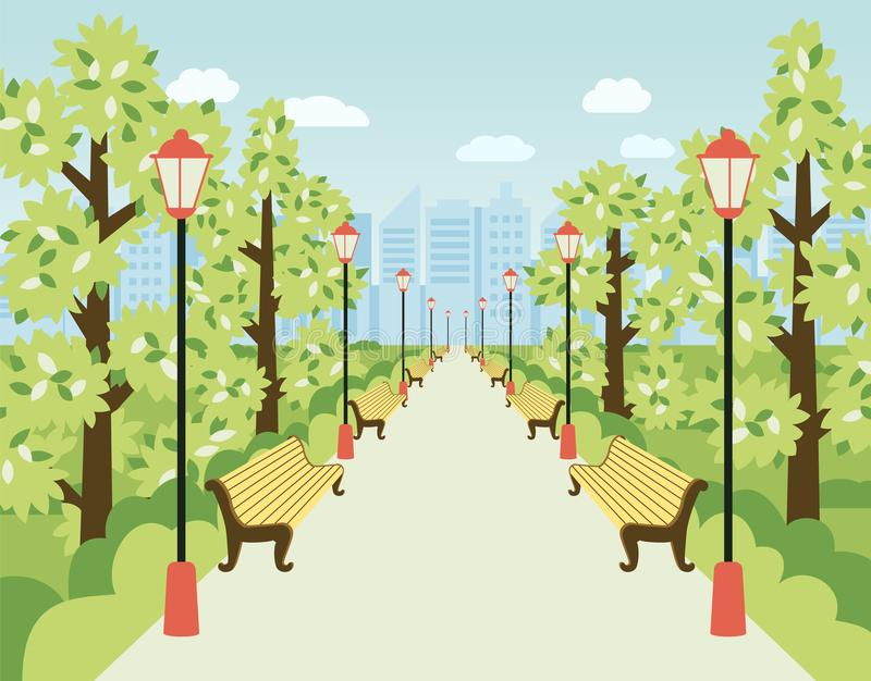 Park, alley with lanterns, benches and green trees. City garden, urban recreation area. Flat vector cartoon illustration stock illustration