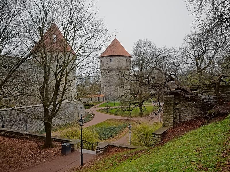 Park along the medieval city walls of Tallinn, Estonia royalty free stock photos