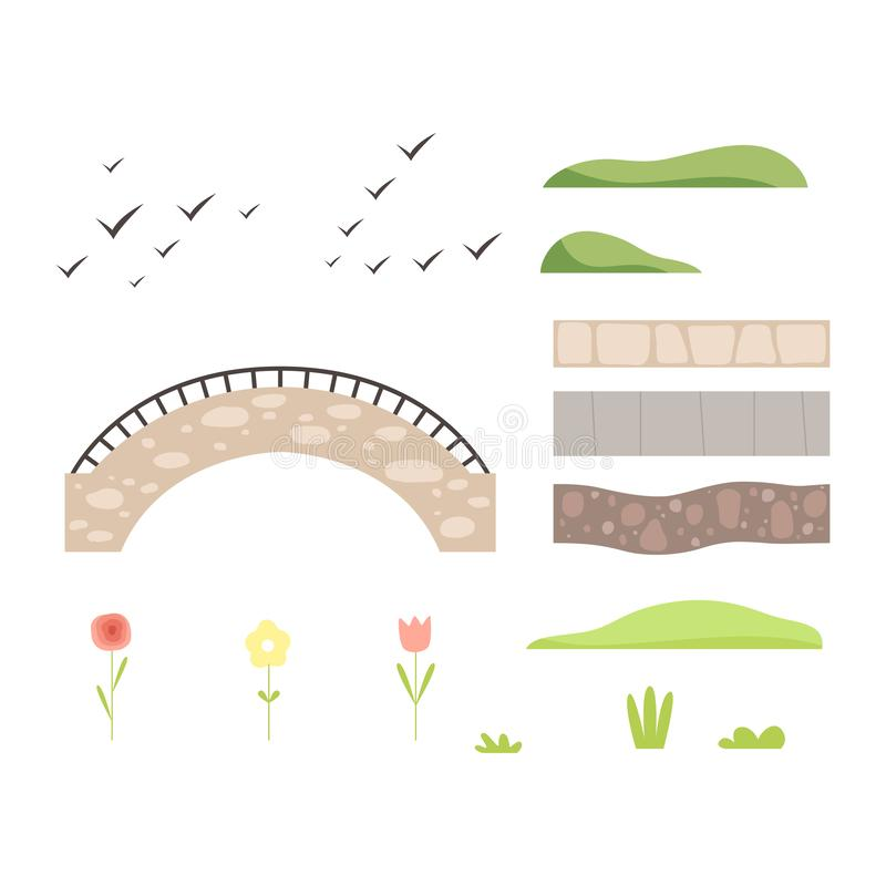 Park architectural landscape constructor design elements, plants, stone path, bridge, birds vector Illustration. Isolated on a white background stock illustration