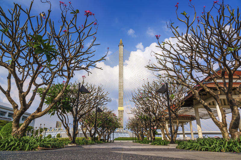 Park around Rama8 bridge. Thailand with bluesky and cloud royalty free stock photography