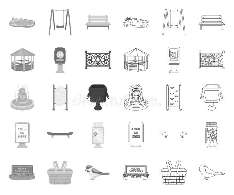 Park, Ausrüstung mono, Entwurfsikonen in gesetzter Sammlung für Entwurf Das Gehen und der Rest vector Netzillustration des Symbol stock abbildung