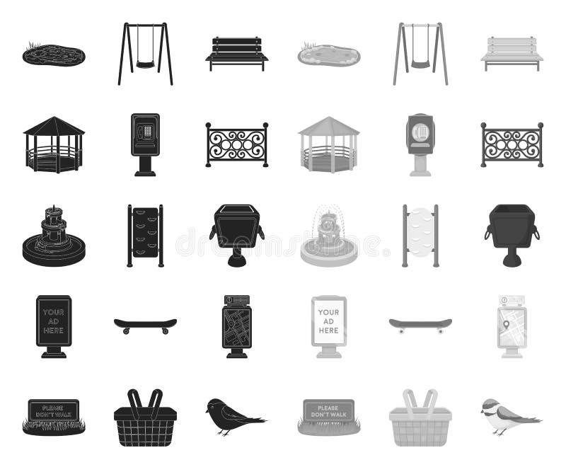 Park, Ausr?stung schwarz Monoikonen in gesetzter Sammlung f?r Entwurf Das Gehen und der Rest vector Netzillustration des Symbols  vektor abbildung