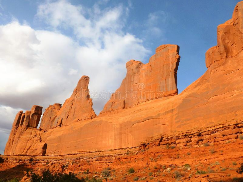 Park Avenue Arches National Park Moab Utah. A picture of the Park Avenue Skyline in late May around late afternoon on a partly sunny/cloudy day. A fun easy hike royalty free stock images