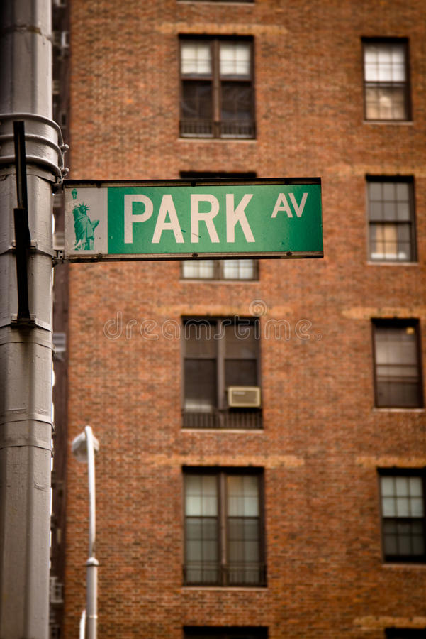 Park Avenue street sign stock images