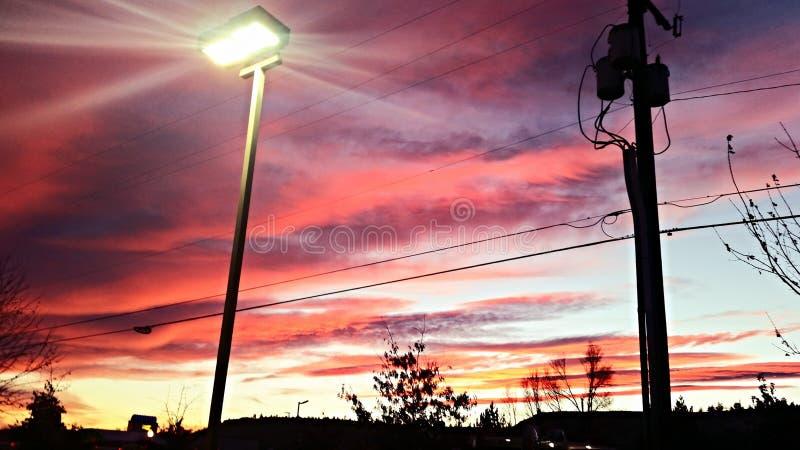 Park beleuchteter Sonnenuntergang stockbilder