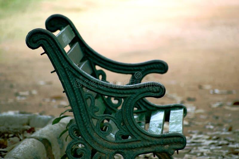 Park bench closeup shot royalty free stock photography