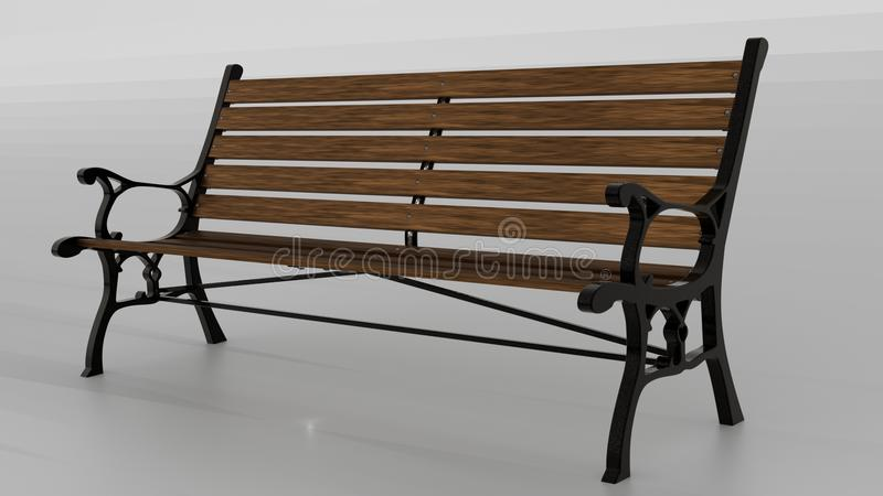 Park bench with decorative sides royalty free stock image