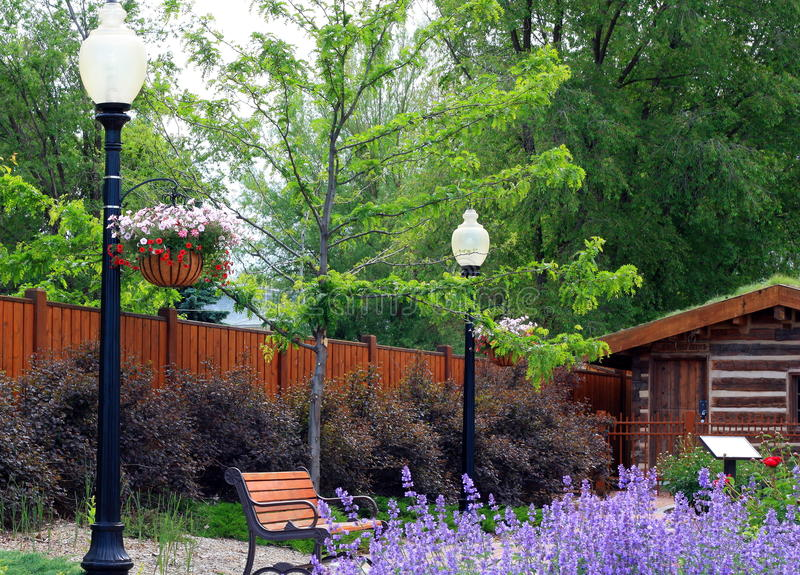 Download Park Bench and Gardens stock photo. Image of lamp, garden - 14855052