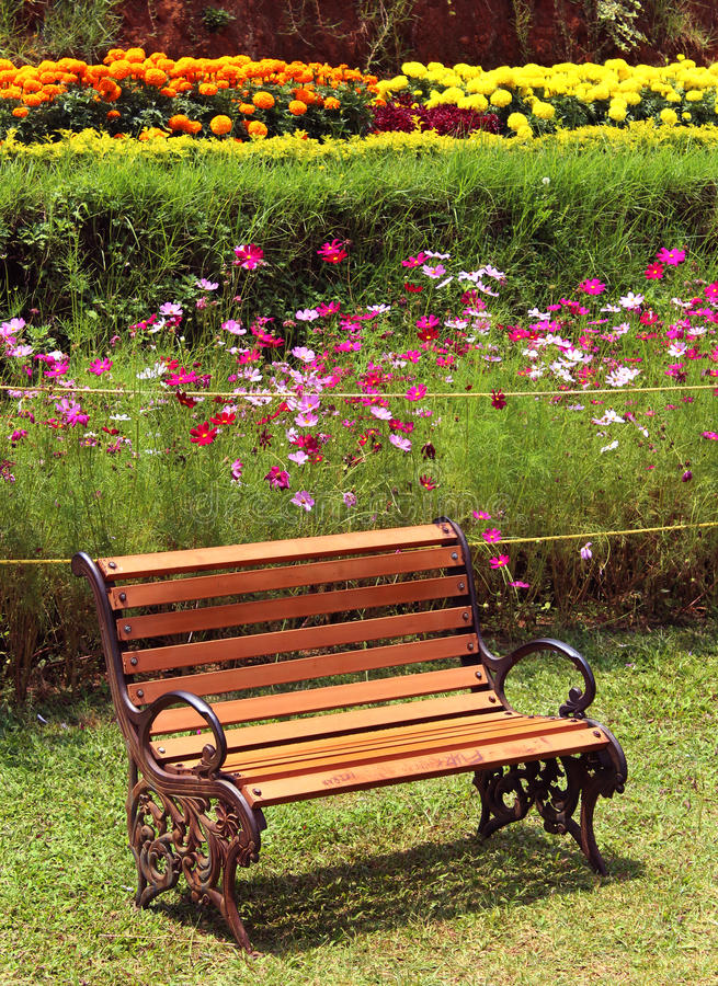 Park bench on meadow royalty free stock photo