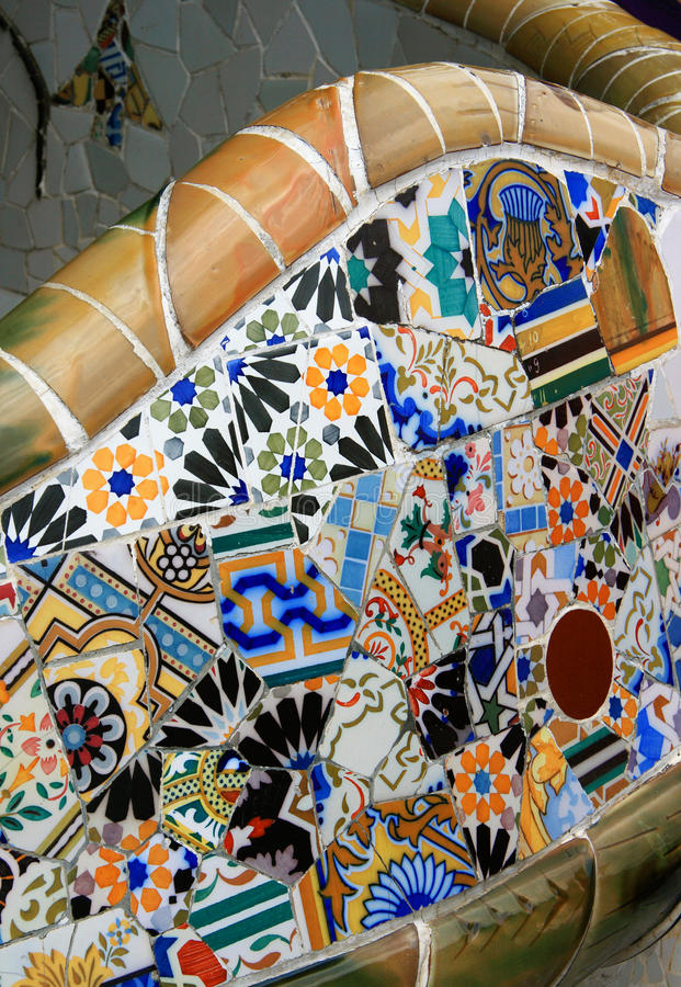 Park bench, Parc Guell, Barcelona stock photography