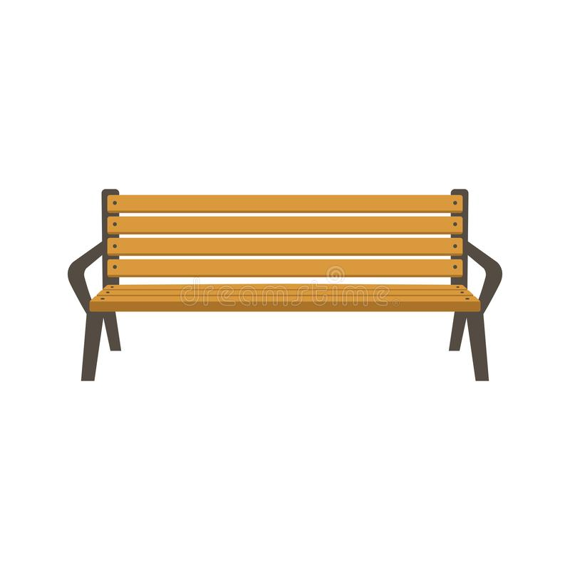 Park bench vector illustration flat style. Front view stock illustration