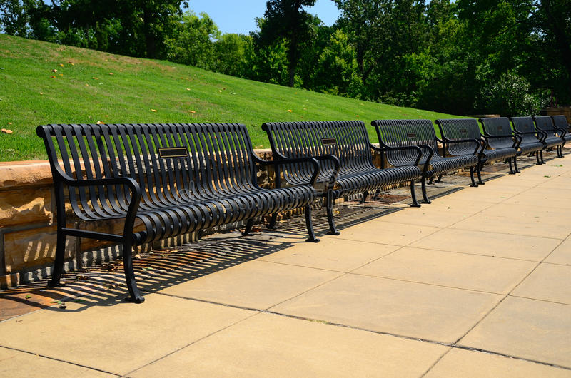 Download Park Benches stock image. Image of sidewalk, trees, lawn - 20850059