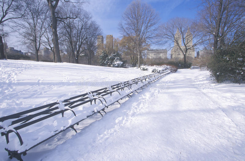 Park benches with snow in Central Park, Manhattan, New York City, NY after winter snowstorm royalty free stock images