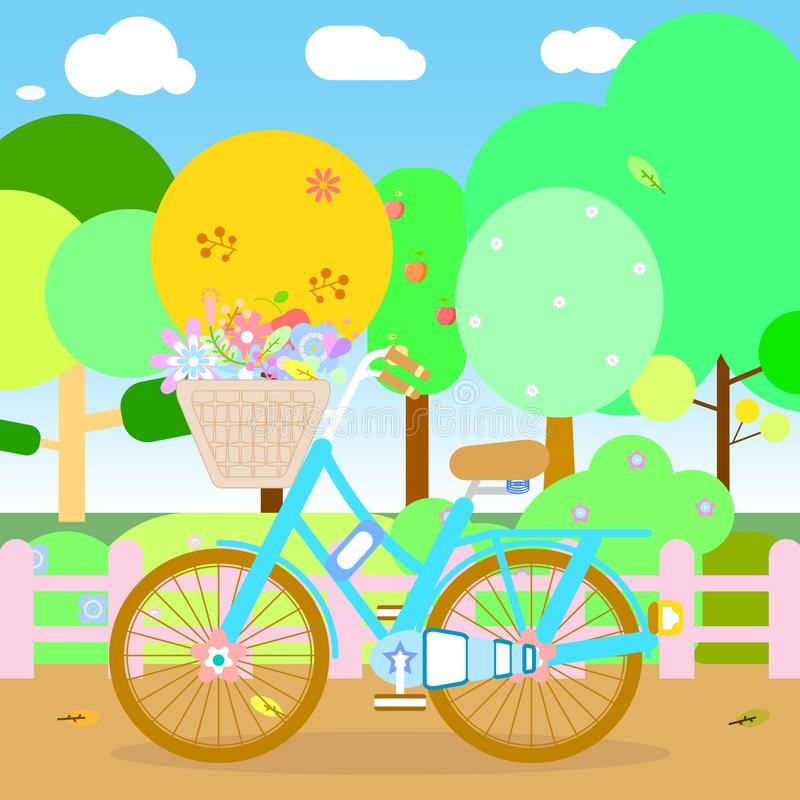 The park and bicycle royalty free illustration