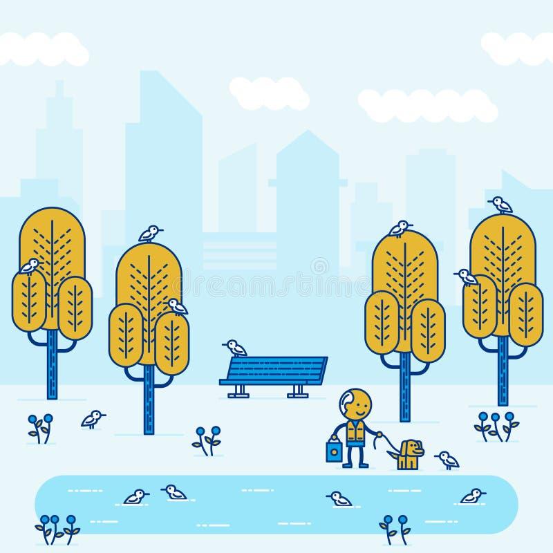 Park in big city. Vector illustration stock illustration
