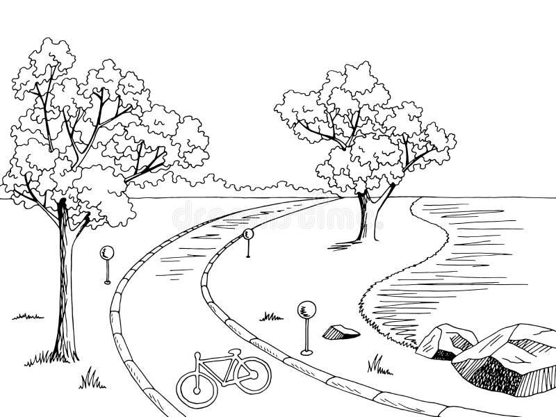 Park Bike Path Graphic Black White Landscape Sketch
