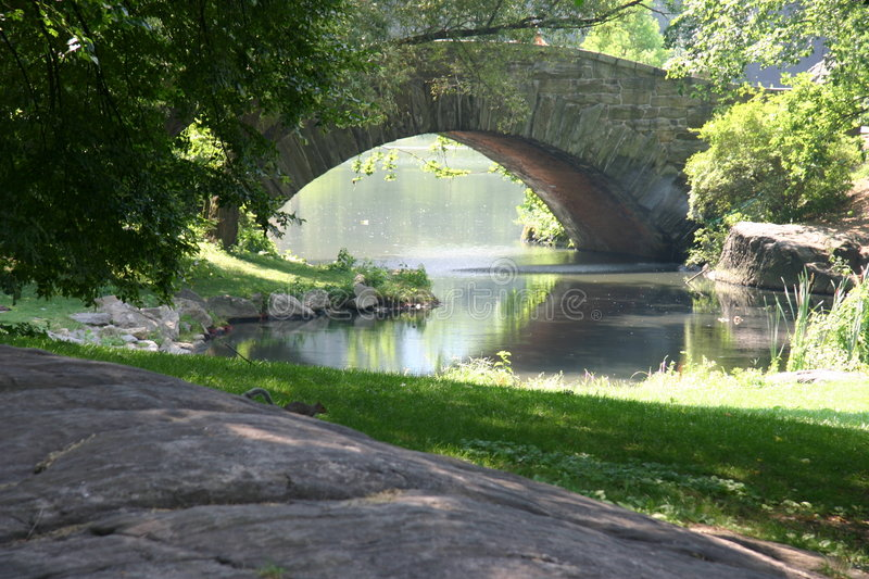 Park with bridge and river stock image