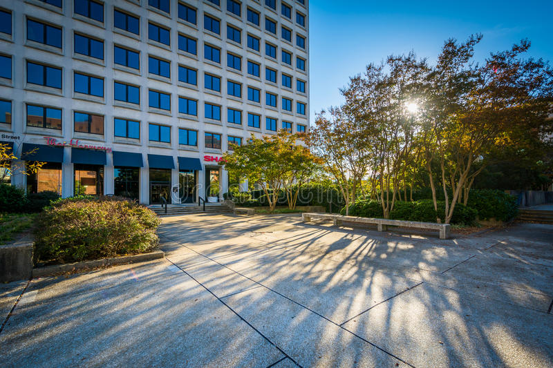 Park and buildings in downtown Winston-Salem, North Carolina. stock photo