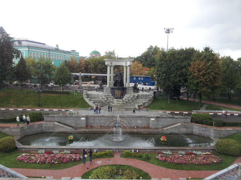 Park of The Cathedral of Christ the Saviour, Moscow, Russia royalty free stock photos