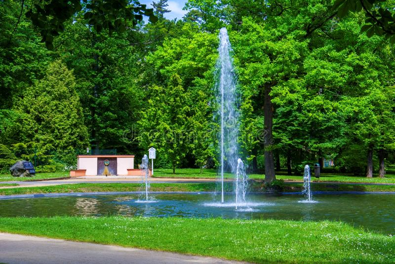 Park in small west bohemian spa town Frantiskovy Lazne Franzensbad - Czech Republic. Park in the center of small west bohemian spa town Frantiskovy Lazne royalty free stock photos