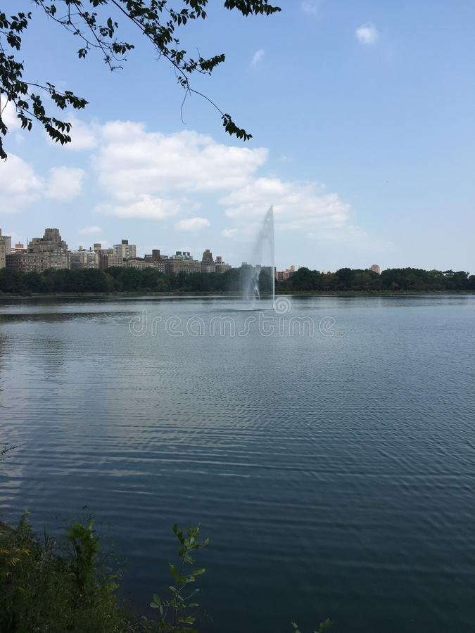 Park. Central park and Skyline of NY royalty free stock image