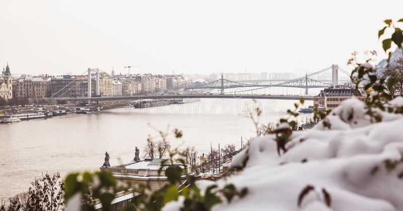 Park of citadel covered with snow, Buda Castle, Budapest , Hungary. Panoramic view to Danube river stock photos