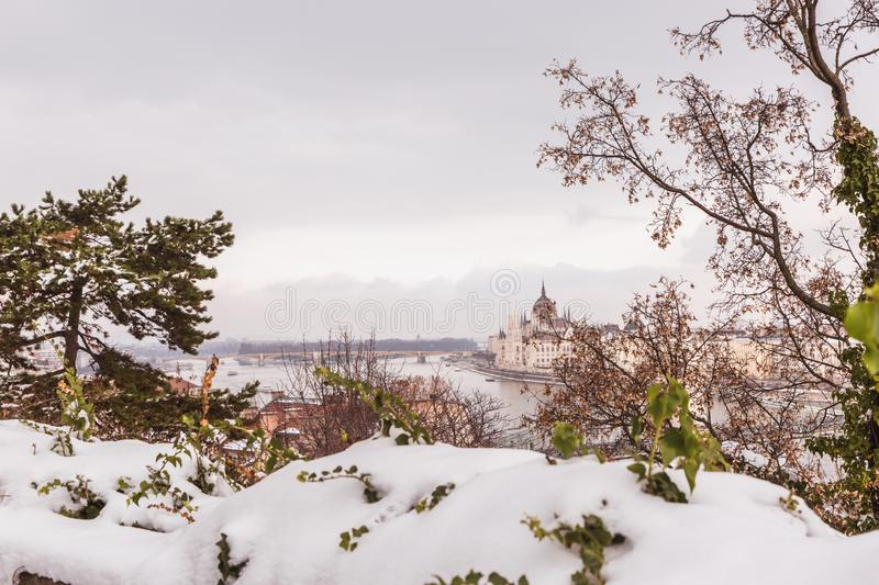 Park of citadel covered with snow, Buda Castle, Budapest , Hungary. Panoramic view to Danube river royalty free stock photos