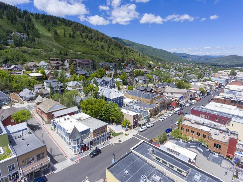 Park City aerial view, Utah, USA. Aerial view of Park City on Main Street in Park City, Utah, USA. Park City hosted the ski and snowboarding events for 2002 stock photo