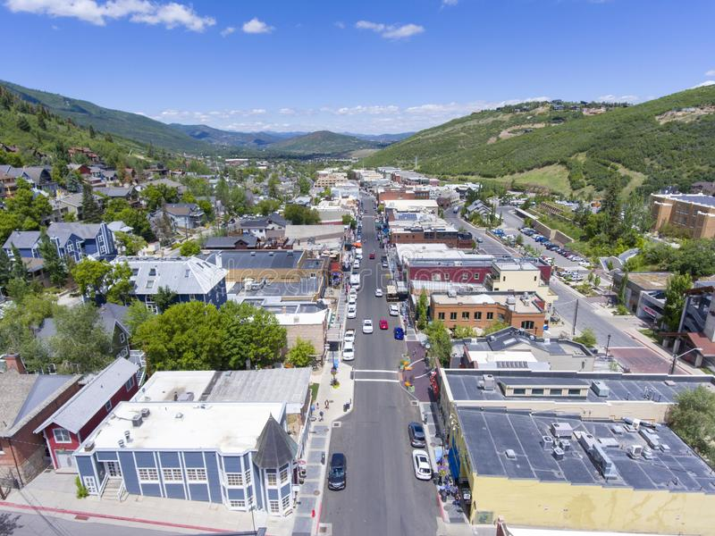 Park City aerial view, Utah, USA. Aerial view of Park City on Main Street in Park City, Utah, USA. Park City hosted the ski and snowboarding events for 2002 stock image