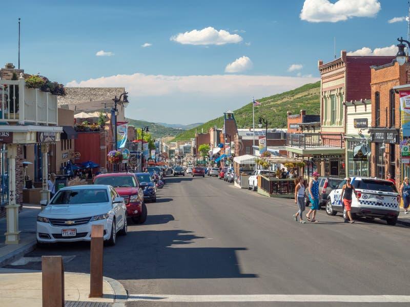 Park City Utah, Förenta staterna, Amerika: [olympisk by för mitt nära Salt Lake City arkivbilder