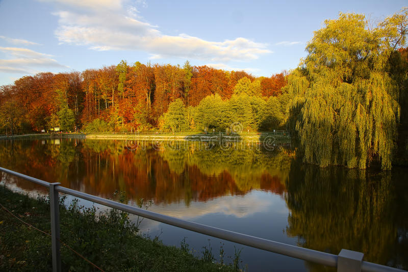 Park in de herfsttijd stock afbeelding