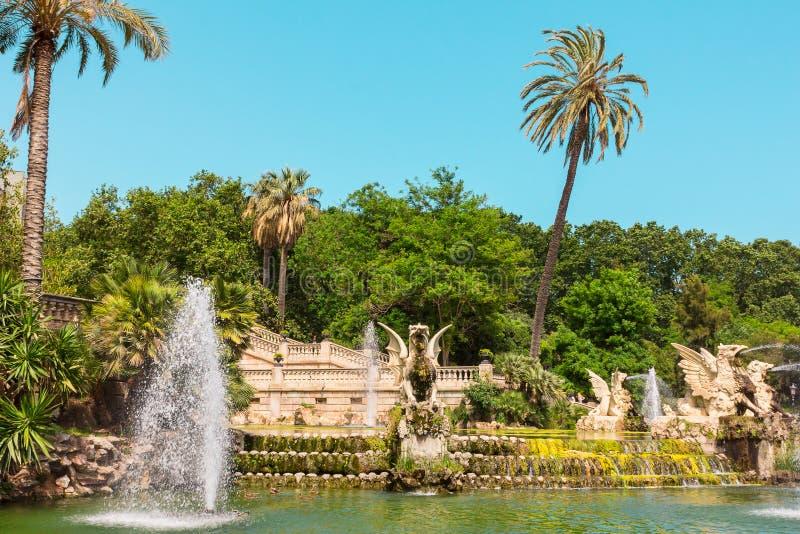 Park de La Ciutadella. Beautiful fountain in park De la Ciutadella. Barcelona, Spain stock photo