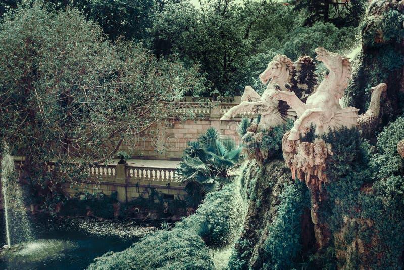 Park de La Ciutadella. Detail of the fountain with sculptures of horses in the Park de La Ciutadella. Barcelona, Spain stock photography
